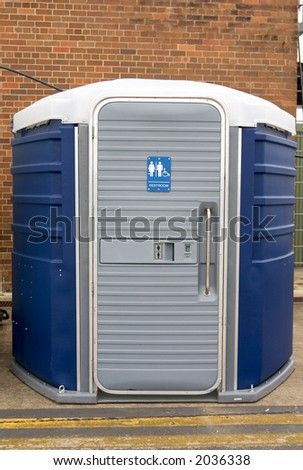 Portable toilet with disabled facility - stock photo