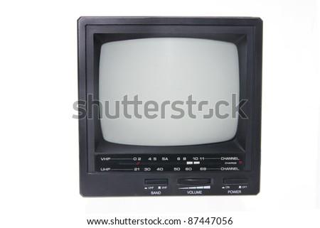 Portable TV on White Background - stock photo