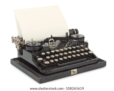 Portable Typewriter with sheet of paper isolated on white background