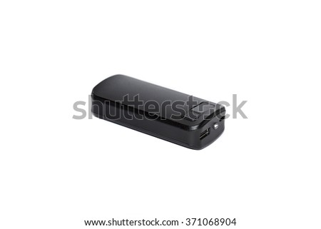 Portable USB Charging Device Power Bank Isolated on White  - stock photo