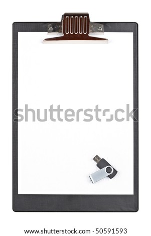 Portable usb flash drive memory and blank clipboard isolated on white background - stock photo