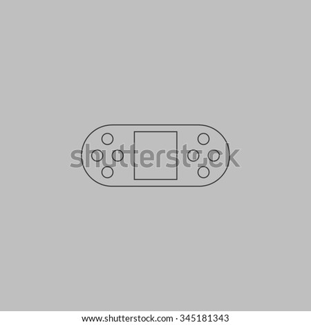 Portable Video Game Console. Flat outline icon on grey background