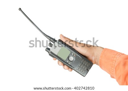 portable walkie-talkie radio in hand - stock photo