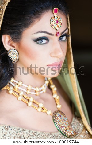 portait of a beautiful indian bride - stock photo