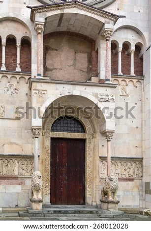 Portal. Modena Cathedral is a Roman Catholic Romanesque church in Modena, Italy. Consecrated in 1184, it is an important Romanesque building in Europe and a World Heritage Site. - stock photo