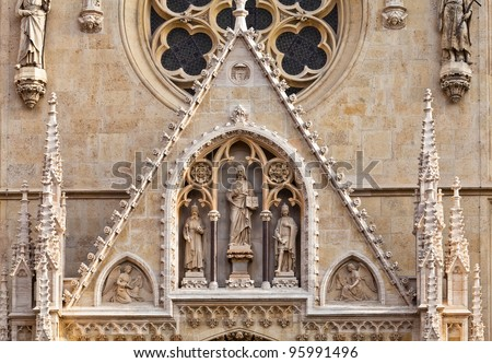 Portal of the gothic cathedral dedicated to the Assumption of Mary and to kings Saint Stephen and Saint Ladislaus in Zagreb, Croatia