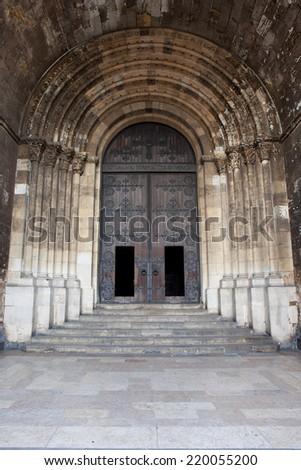 Portal of the Lisbon Cathedral in Portugal. - stock photo