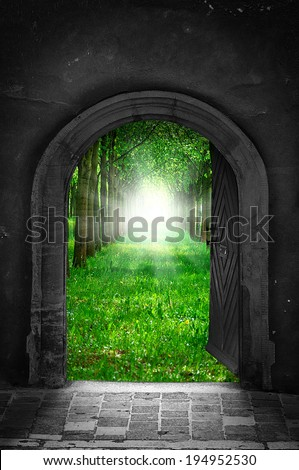 Portal to freedom / hope concept - stock photo
