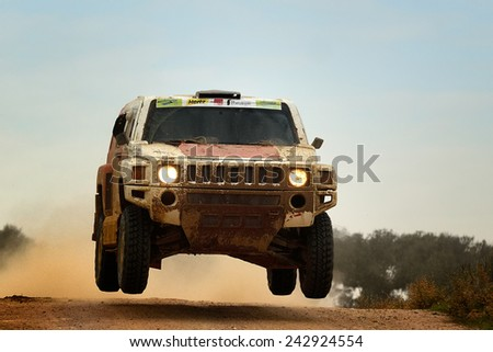 PORTALEGRE, PORTUGAL - NOV 1 : Czech driver Miroslav Zapletal and his codriver Maciej Marton in a Hummer H3 Evo VII race in the 28th Baja Portalegre 500, on Nov 1, 2014 in Portalegre, Portugal. - stock photo