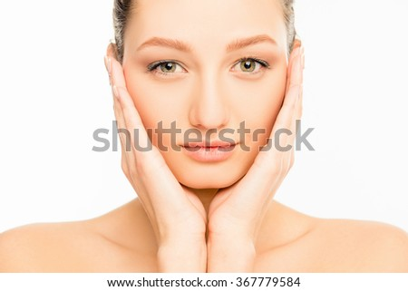 Portarit of attractive woman with green eyes and tender skin - stock photo