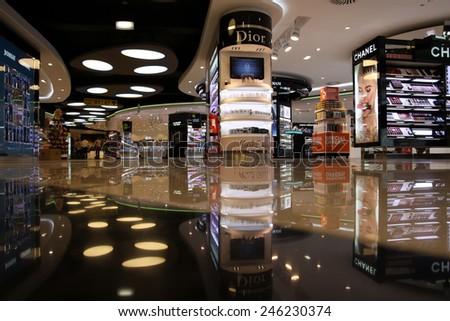 PORTELA AIRPORT,  LISBON -  JUNE 1, 2012: Cosmetics stores in duty free Portela Airport - stock photo