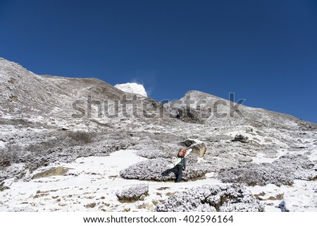 Porter bring the wood pass snow cover Pheriche Village on the way to everest basecamp nepal - stock photo