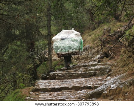 Porter carrying a heavy load in the Everest Region - stock photo