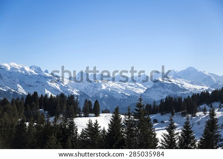 Portes du Soleil in French Alps - stock photo