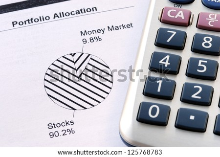 Portfolio allocation illustrates the asset in a pie chart concept of money investing