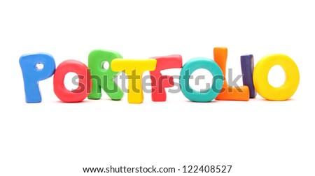 PORTFOLIO - webwords of plasticine letters standing isolated on white