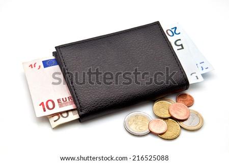portfolio with euro banknotes and coins - stock photo