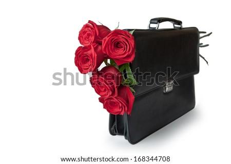 Portfolio with red roses - stock photo