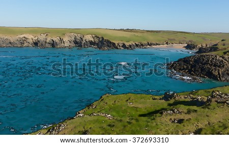 Porth Joke beach by Crantock bay Cornwall England UK near Newquay and on South West Coast Path also known as Polly Joke in spring with blue sea and sky illustration like oil painting cartoon effect