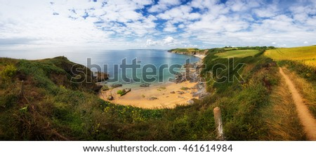 porthbeor beach near st anthonys head cornwall england uk.
