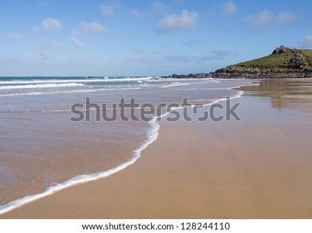 Porthmeor beach shore, St. Ives Cornwall UK. - stock photo