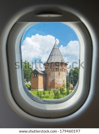 porthole and landmark, tower and wall of the Kremlin, Thunderous (Round) Tower Smolensk