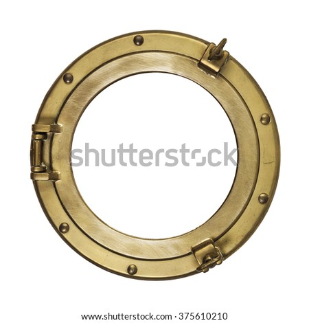 Porthole isolated with clipping path. Vintage brass porthole isolated with clipping path on white background