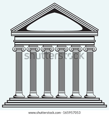 Portico an ancient temple. Bank. Colonnade isolated on blue background. Raster version