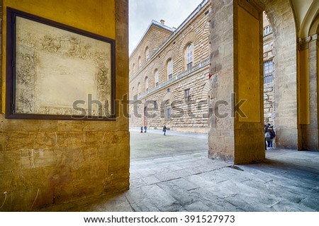 Porticoes of Pitti Palace in Florence, Italy
