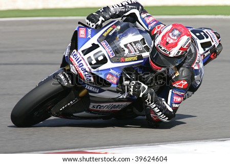 PORTIMAO, PORTUGAL - OCTOBER 25: Spies B., 1st place winner of the race 1, Superbikes, Algarve on October 25, 2009 in Portimao, Portugal. - stock photo