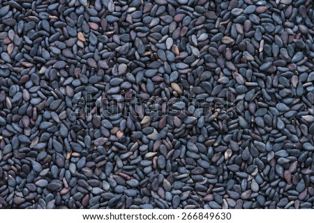 Portion of black Sesame (detailed close-up shot) for use as background or as texture - stock photo