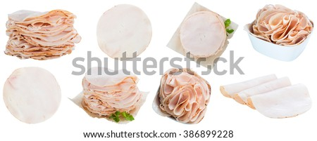 Portion of Chicken Breast Fillet isolated on white backgrouind - stock photo