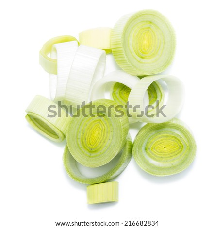 Portion of cutted Leek isolated on pure white background - stock photo