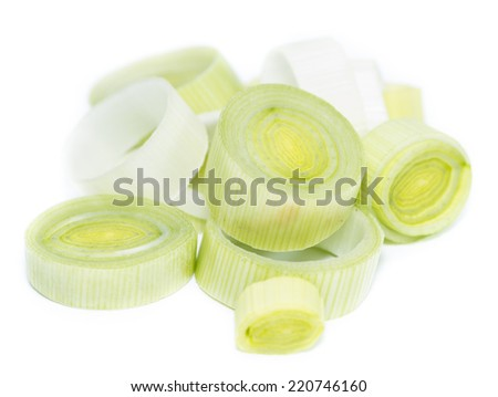 Portion of cutted Leek isolated on pure white background