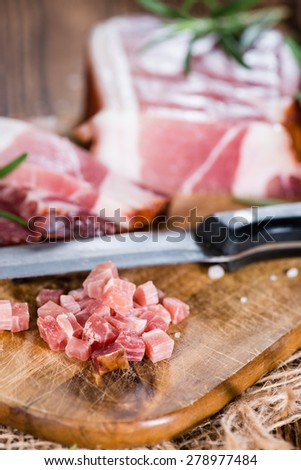 Portion of fresh diced Ham (close-up shot) - stock photo
