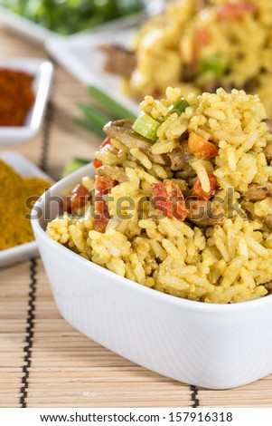 Portion of fresh made Curry Rice with Chicken