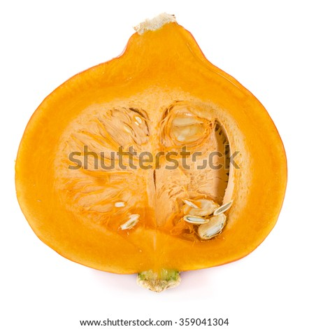 Portion of fresh Pumpkin isolated on white background (close-up shot)