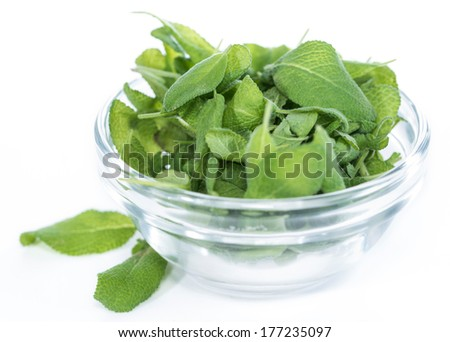 Portion of fresh Sage (isolated on white background)