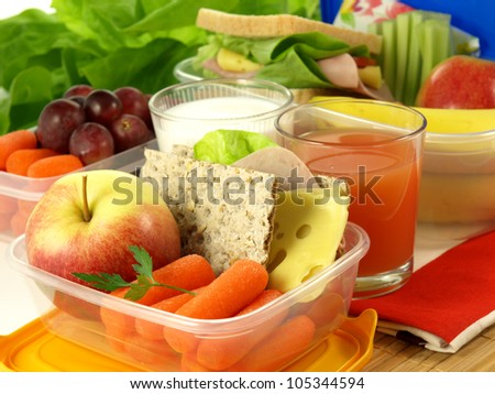 Portion of fruits and vegetables for healthy eating person - stock photo
