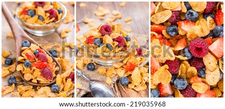 Portion of golden Cornflakes (as a collage) - stock photo