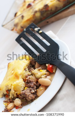Portion of gratin with beef and vegetables - stock photo
