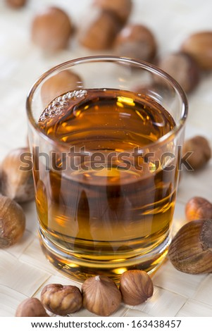 Portion of Hazelnut Syrup in a small glass