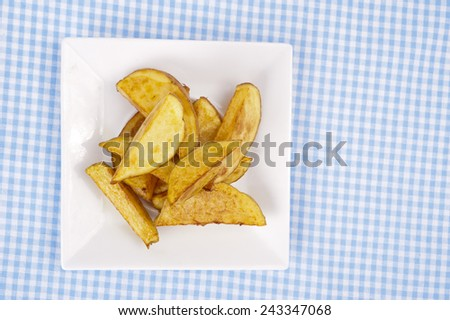 portion of homemade french fries  - stock photo