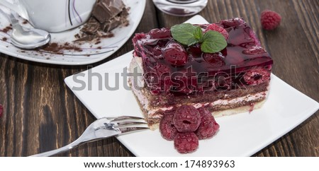 Portion of homemade Raspberry Tart on a plate