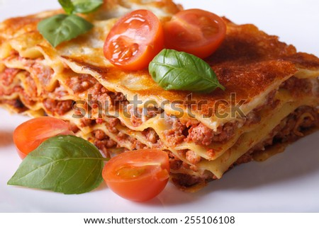 Portion of Italian lasagna with fresh basil and tomatoes on a white plate. Horizontal close-up