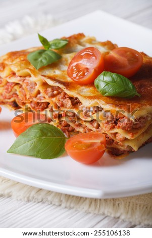 Portion of Italian lasagna with fresh basil and tomatoes on a white plate. vertical