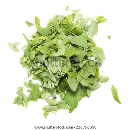 Portion of Lovage (fresh cutted leaves) isolated on white background - stock photo