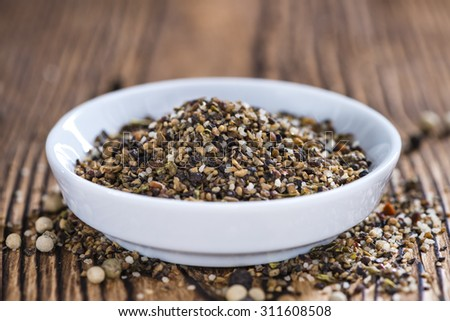 Portion of milled Peppercorns as detailed close-up shot - stock photo
