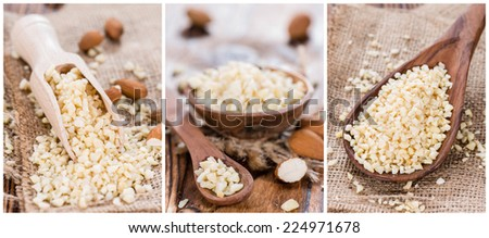 Portion of minced Almonds (as a collage) - stock photo