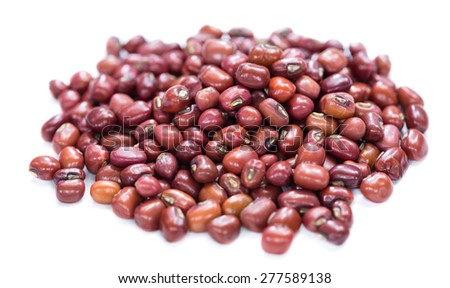Portion of red beans isolated on white background - stock photo